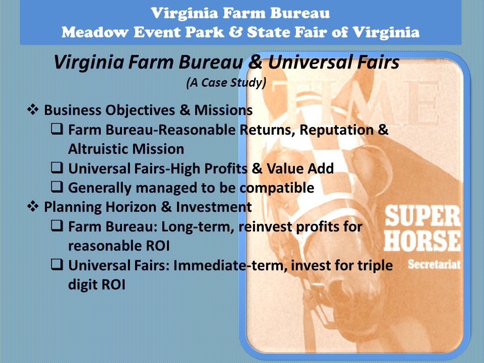 Virginia Farm Bureau Meadow Event Park & State Fair of Virginia Virginia Farm Bureau & Universal Fairs (A Case Study) Business Objectives & Missions Farm Bureau-Reasonable Returns, Reputation & Altruistic Mission Universal Fairs-High Profits & Value Add Generally managed to be compatible Planning Horizon & Investment Farm Bureau: Long-term, reinvest profits for reasonable ROI Universal Fairs: Immediate-term, invest for triple digit ROI