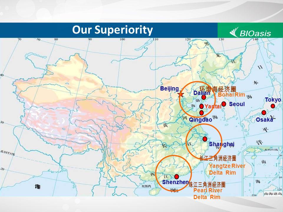 Beijing Qingdao Shanghai Seoul Tokyo Osaka Dalian Shenzhen Yantai Our Superiority Bohai Rim Yangtze River Delta Rim Pearl River Delta Rim