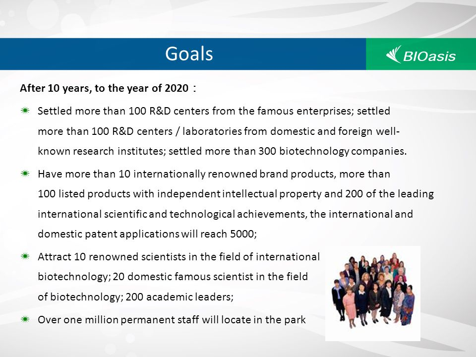 Goals After 10 years, to the year of 2020 Settled more than 100 R&D centers from the famous enterprises; settled more than 100 R&D centers / laborator