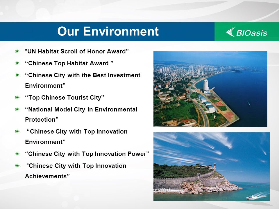 Our Environment UN Habitat Scroll of Honor Award Chinese Top Habitat Award Chinese City with the Best Investment Environment Top Chinese Tourist City