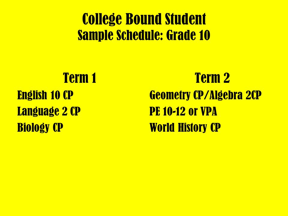 College Bound Student Sample Schedule: Grade 9 Term 1 English 9 CP Earth Science CP Health/Career Prep/Geography Term 2 Algebra 1CP/Geometry CP Foreign Language 1 CP PE 9