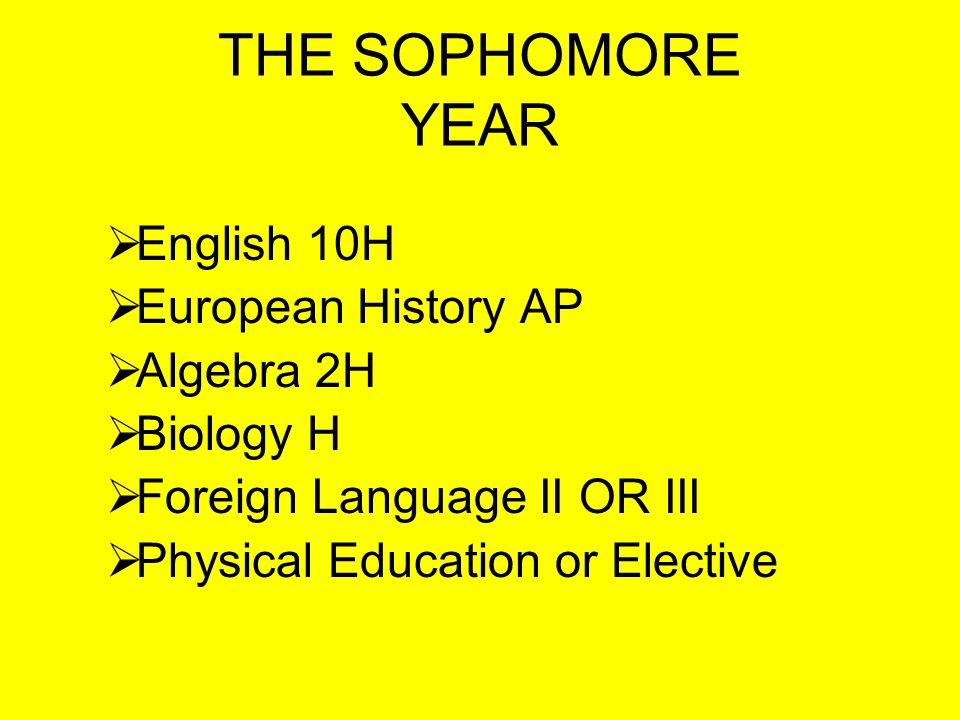 TYPICAL FRESHMAN HONORS PROGRAM English 9H Geometry H Chemistry H Foreign Language Level I or Level II Health and Career Choices/Geography Physical Education