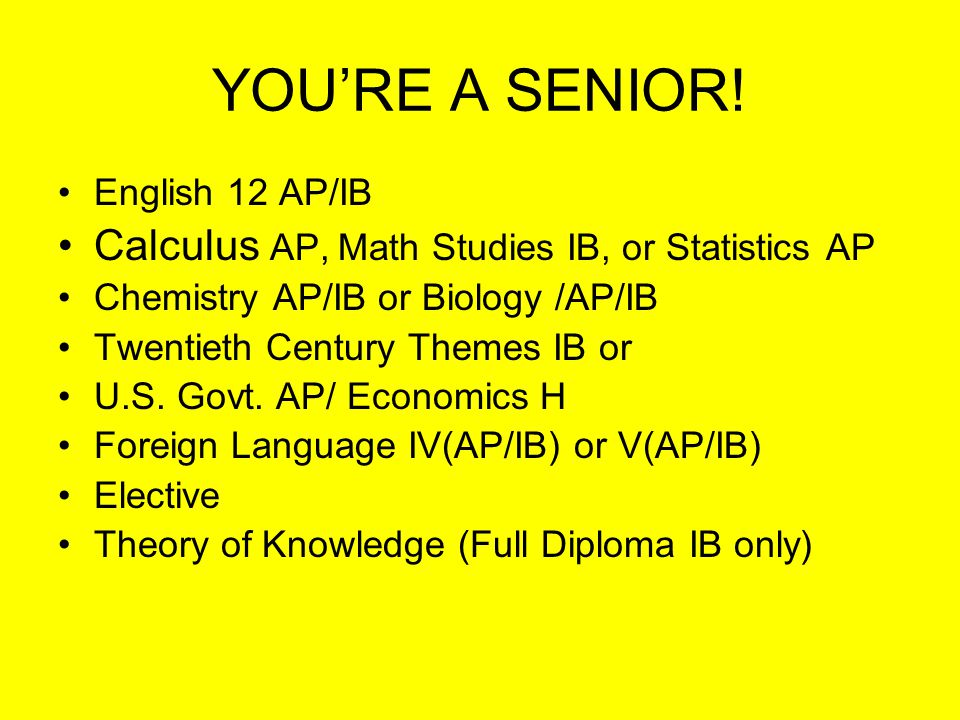 JUNIOR YEAR English 11H/IB Math Analysis H Physics H or AP U.S.