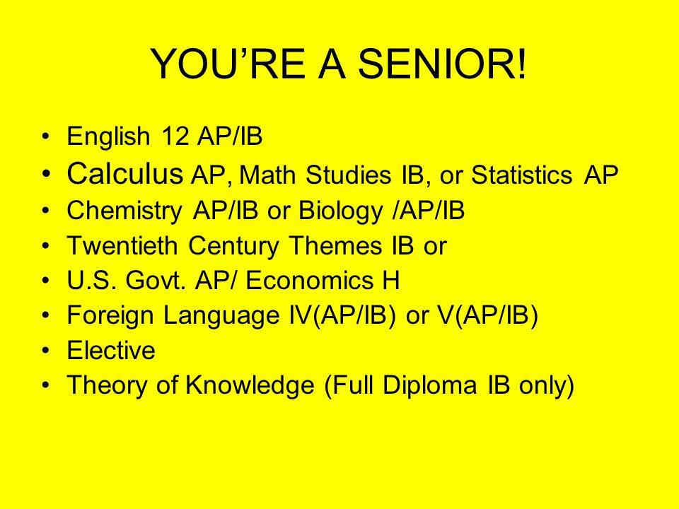 JUNIOR YEAR English 11H/IB Math Analysis H Physics H or AP U.S. History AP Foreign Language III or IV(AP or IB) U.S. Govt. AP/Economics H Theory of Kn