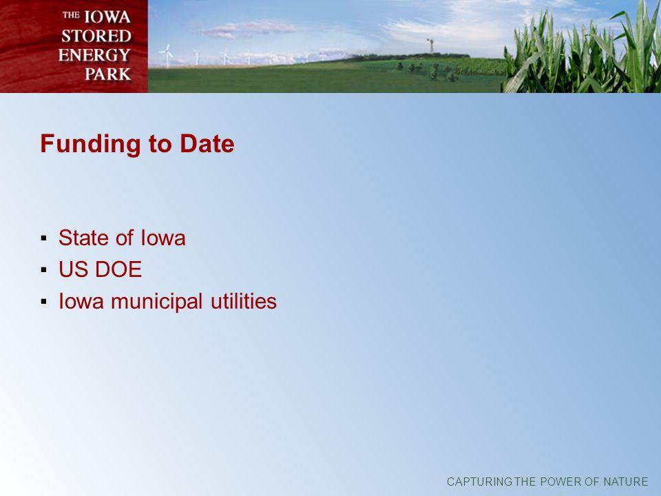 CAPTURING THE POWER OF NATURE Funding to Date State of Iowa US DOE Iowa municipal utilities