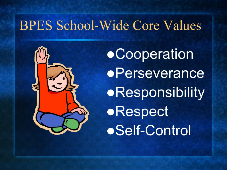 BPES School-Wide Core Values Cooperation Perseverance Responsibility Respect Self-Control