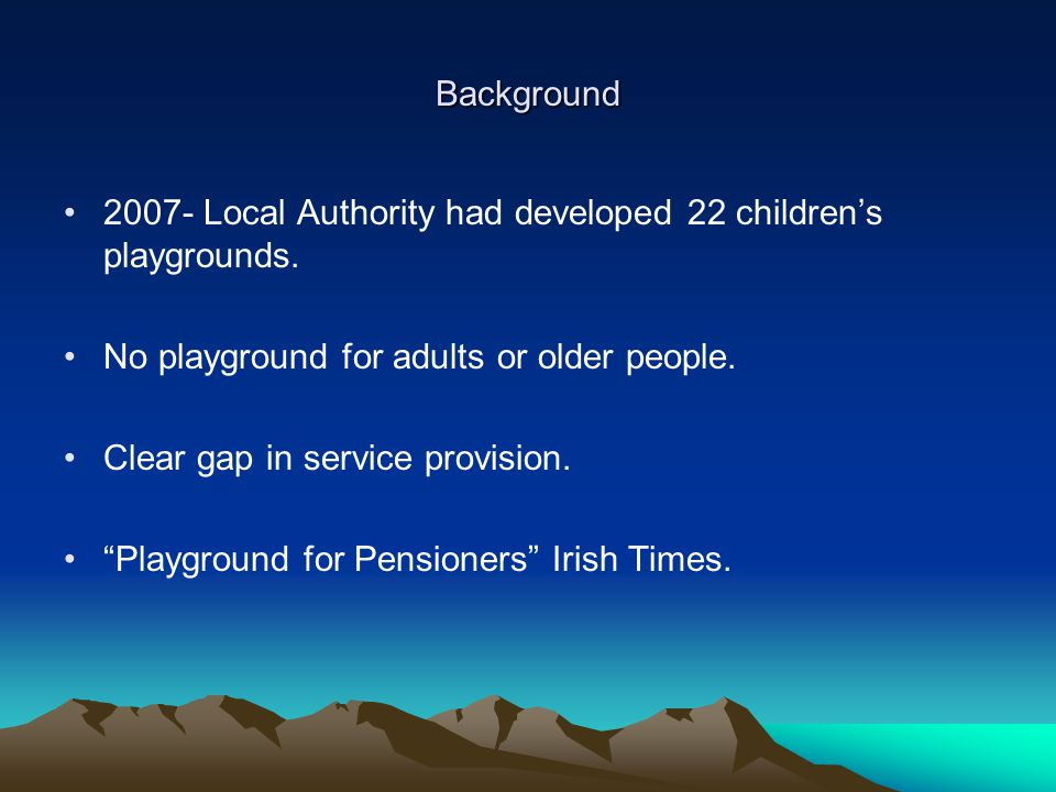 Background 2007- Local Authority had developed 22 childrens playgrounds.