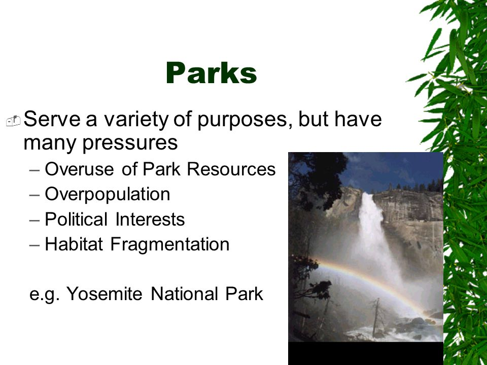 Parks Serve a variety of purposes, but have many pressures –Overuse of Park Resources –Overpopulation –Political Interests –Habitat Fragmentation e.g.