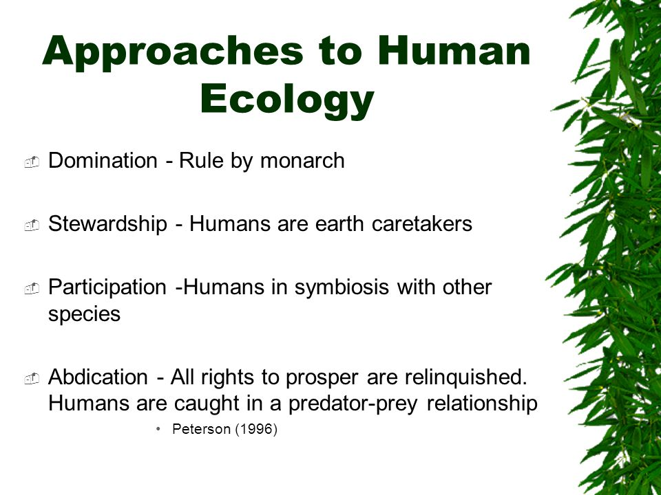 Approaches to Human Ecology Domination - Rule by monarch Stewardship - Humans are earth caretakers Participation -Humans in symbiosis with other species Abdication - All rights to prosper are relinquished.