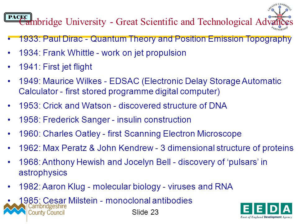 Slide 23 1933: Paul Dirac - Quantum Theory and Position Emission Topography 1934: Frank Whittle - work on jet propulsion 1941: First jet flight 1949: Maurice Wilkes - EDSAC (Electronic Delay Storage Automatic Calculator - first stored programme digital computer) 1953: Crick and Watson - discovered structure of DNA 1958: Frederick Sanger - insulin construction 1960: Charles Oatley - first Scanning Electron Microscope 1962: Max Peratz & John Kendrew - 3 dimensional structure of proteins 1968: Anthony Hewish and Jocelyn Bell - discovery of pulsars in astrophysics 1982: Aaron Klug - molecular biology - viruses and RNA 1985: Cesar Milstein - monoclonal antibodies Cambridge University - Great Scientific and Technological Advances