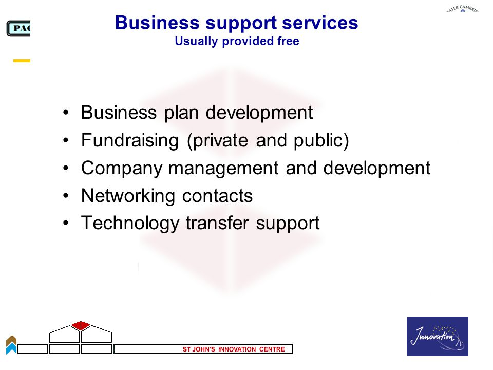 Slide 45 Business support services Usually provided free Business plan development Fundraising (private and public) Company management and development Networking contacts Technology transfer support