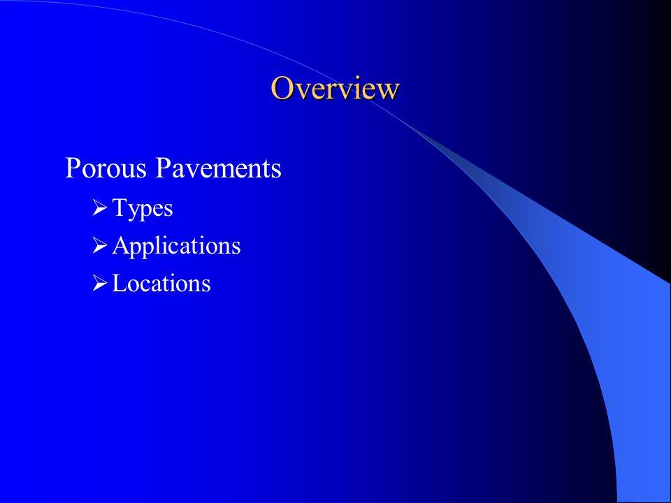 Types of Porous Pavements Plastic lattices Open-jointed paving blocks Open celled paving grids Porous concrete Porous turf Porous asphalt