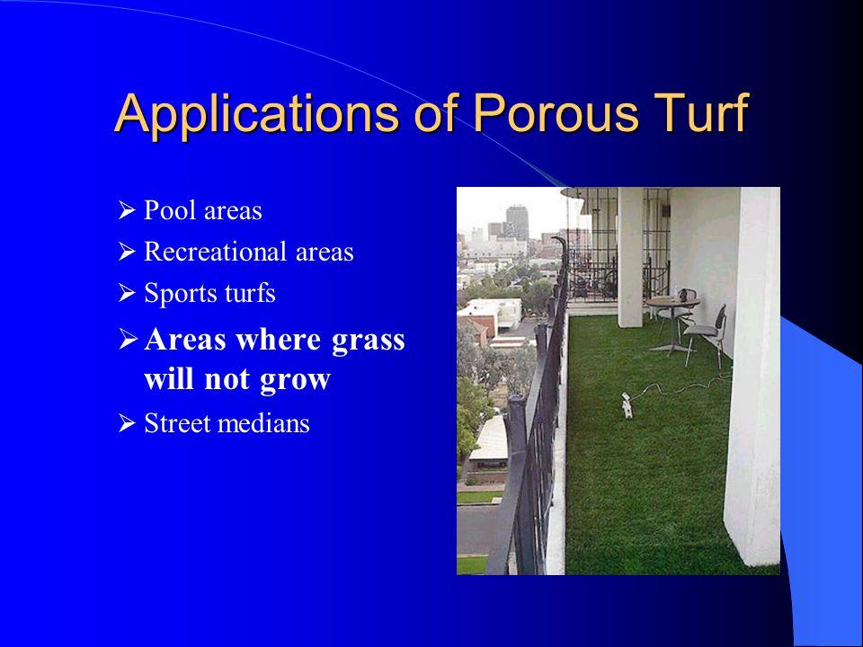 Locations with Porous Turf Malcolm X Shabazz High School, Newark NJ University of Wisconsin, Stout WI Putnam Valley High School, Putnam Valley NY University of Texas (Neuhaus Royal) rooftop, Austin TX