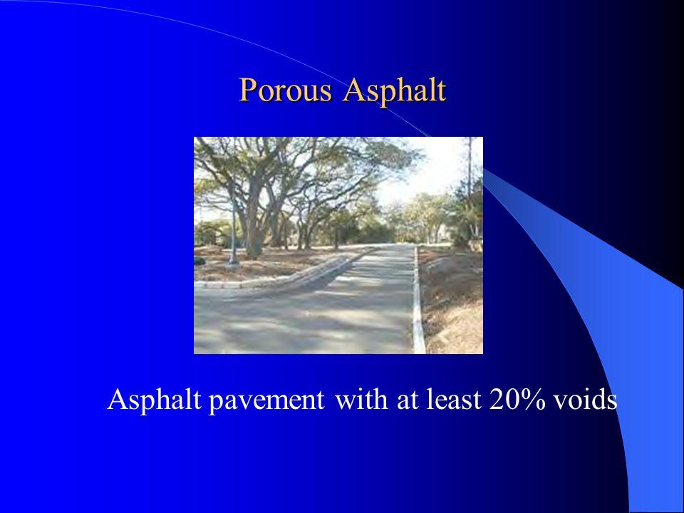 Applications of Porous Asphalt Shoulders of runways Shoulders of airport taxiways Parking areas Pedestrian walkways Road shoulders