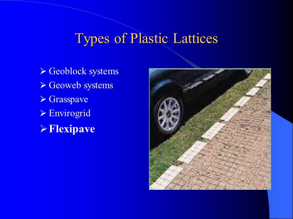 Applications of Plastic Lattices Overflow parking Fire lanes Driveways Utility access Emergency access Pedestrian access