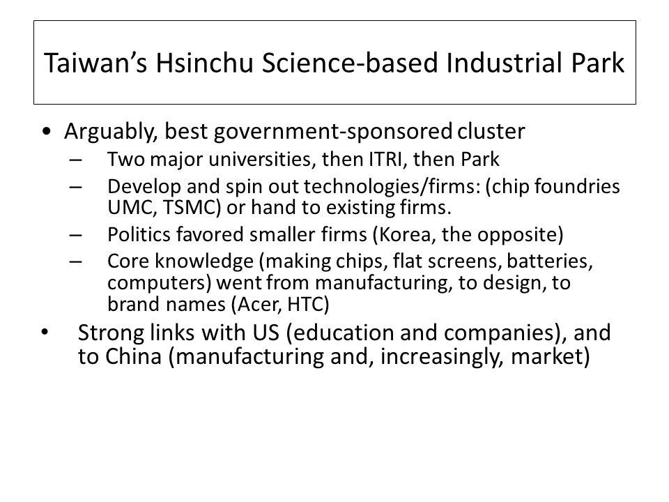 Taiwans Hsinchu Science-based Industrial Park Arguably, best government-sponsored cluster – Two major universities, then ITRI, then Park – Develop and spin out technologies/firms: (chip foundries UMC, TSMC) or hand to existing firms.