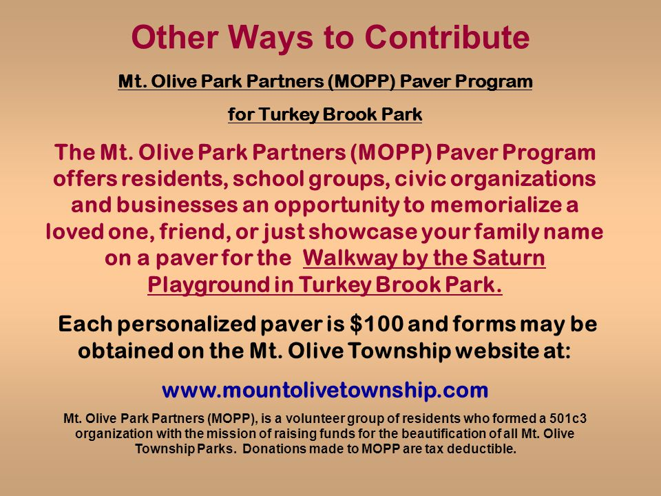 Other Ways to Contribute Mt. Olive Park Partners (MOPP) Paver Program for Turkey Brook Park The Mt.