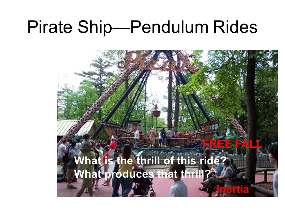 Pirate ShipPendulum Rides What is the thrill of this ride? What produces that thrill? FREE FALL Inertia