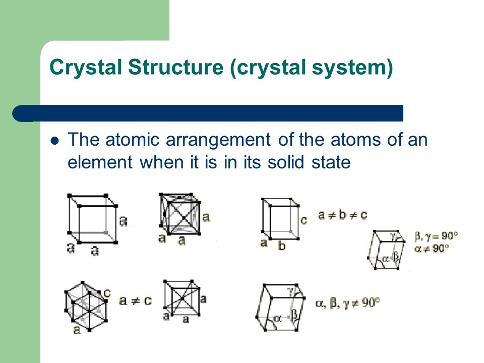 Crystal Structure (crystal system) The atomic arrangement of the atoms of an element when it is in its solid state