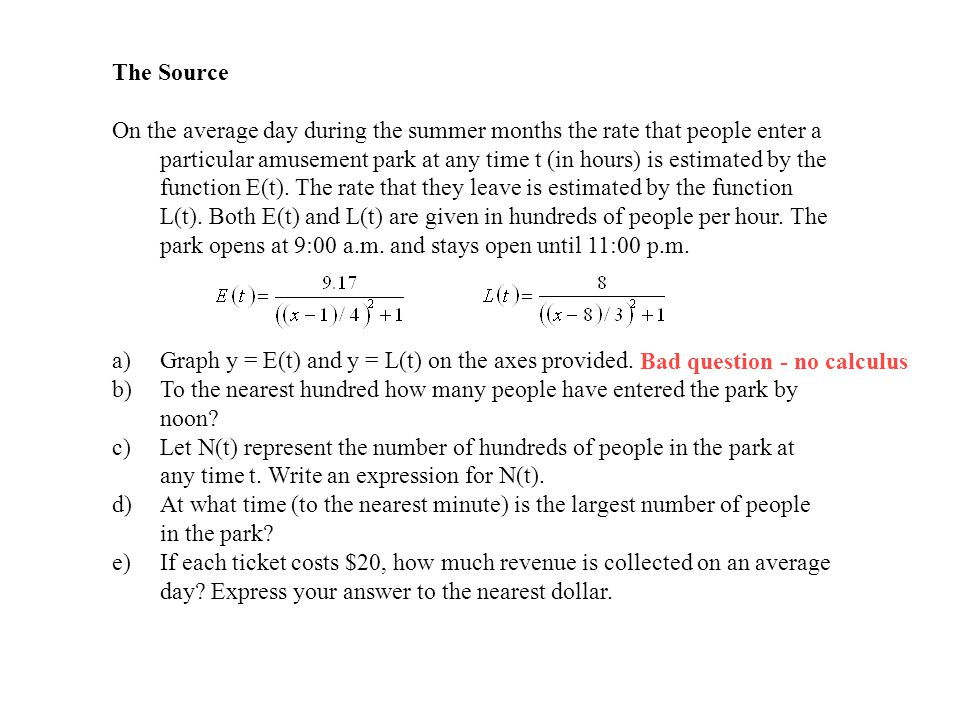 The Source On the average day during the summer months the rate that people enter a particular amusement park at any time t (in hours) is estimated by the function E(t).