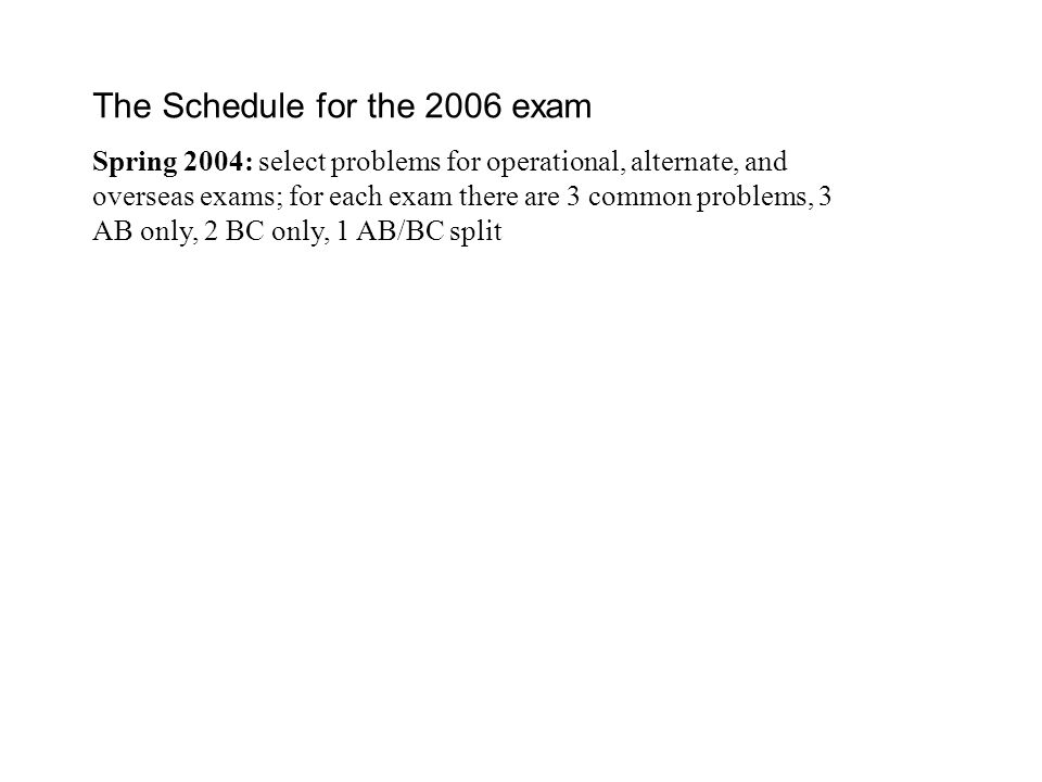 The Schedule for the 2006 exam Spring 2004: select problems for operational, alternate, and overseas exams; for each exam there are 3 common problems, 3 AB only, 2 BC only, 1 AB/BC split