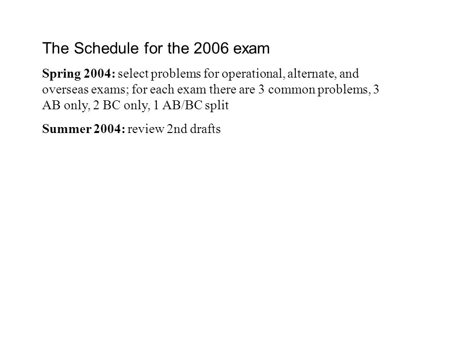 The Schedule for the 2006 exam Spring 2004: select problems for operational, alternate, and overseas exams; for each exam there are 3 common problems, 3 AB only, 2 BC only, 1 AB/BC split Summer 2004: review 2nd drafts