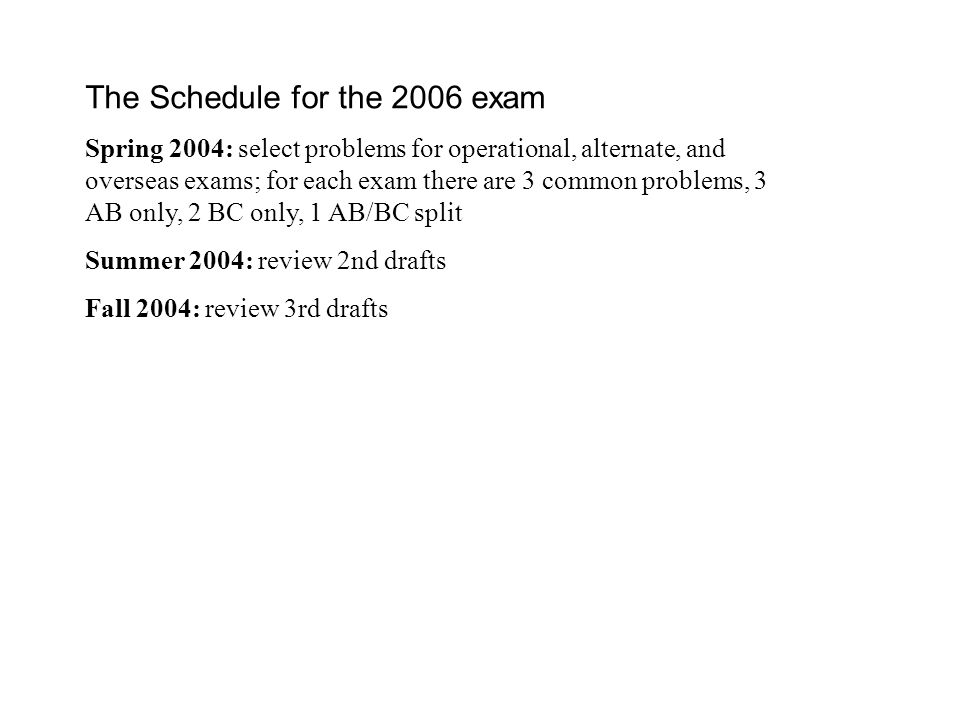 The Schedule for the 2006 exam Spring 2004: select problems for operational, alternate, and overseas exams; for each exam there are 3 common problems, 3 AB only, 2 BC only, 1 AB/BC split Summer 2004: review 2nd drafts Fall 2004: review 3rd drafts