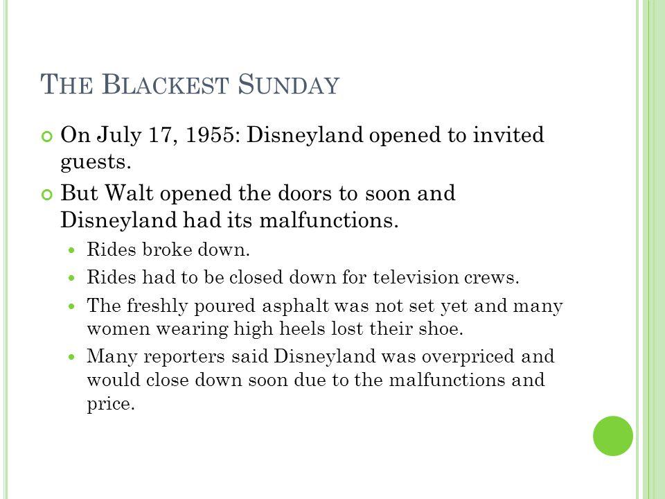 D ISNEYLAND S T IME L INE 1959: Walt denied the Soviet leader Khrushchev a visit due to security concerns.