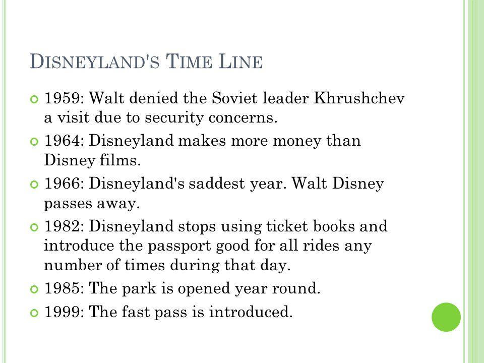W ORKS SITED Brad Aldridge Productions. Disneyland Timeline. Just Disney.