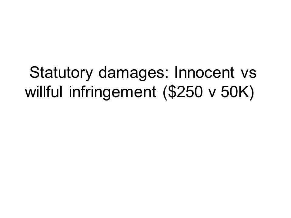 Statutory damages: Innocent vs willful infringement ($250 v 50K)