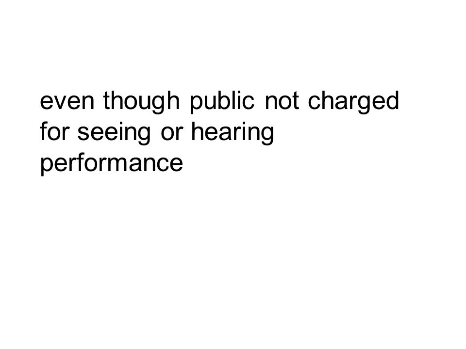 even though public not charged for seeing or hearing performance