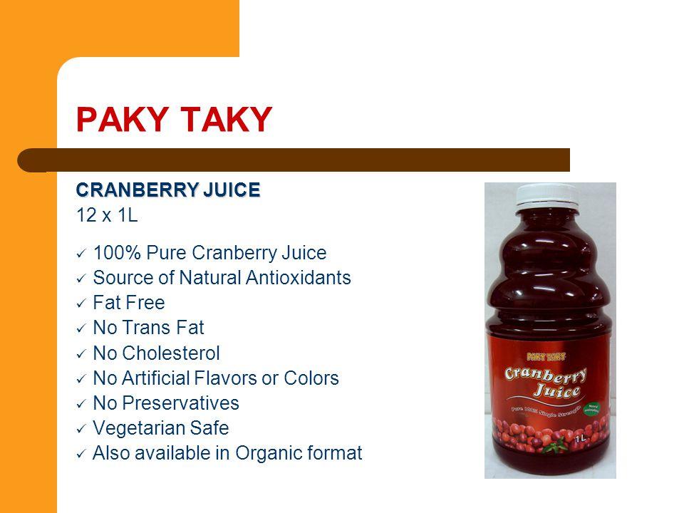 CRANBERRY JUICE 12 x 1L 100% Pure Cranberry Juice Source of Natural Antioxidants Fat Free No Trans Fat No Cholesterol No Artificial Flavors or Colors
