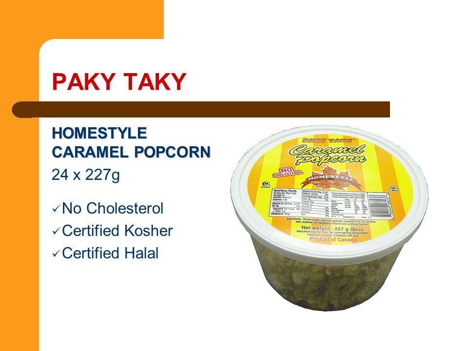 HOMESTYLE CARAMEL POPCORN 24 x 227g No Cholesterol Certified Kosher Certified Halal PAKY TAKY