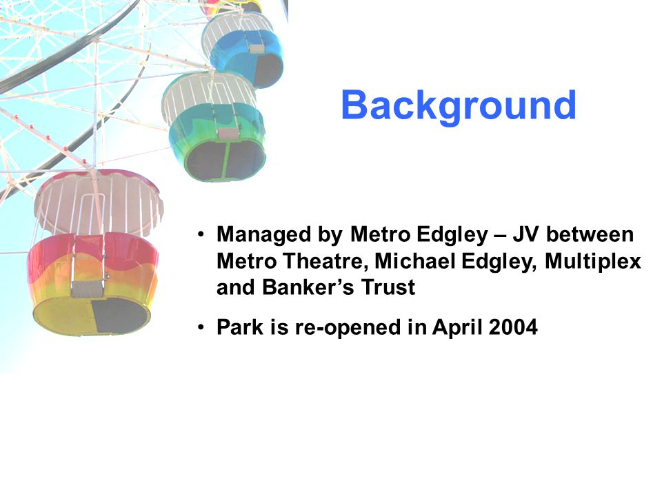 Background Managed by Metro Edgley – JV between Metro Theatre, Michael Edgley, Multiplex and Bankers Trust Park is re-opened in April 2004
