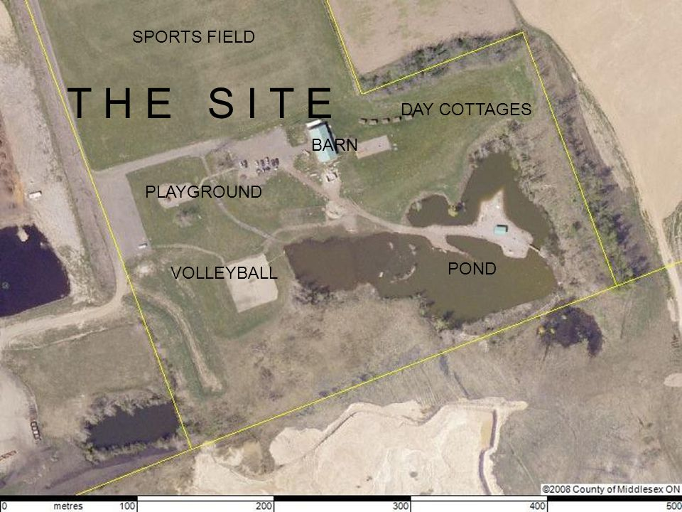 T H E S I T E POND BARN PLAYGROUND VOLLEYBALL SPORTS FIELD DAY COTTAGES