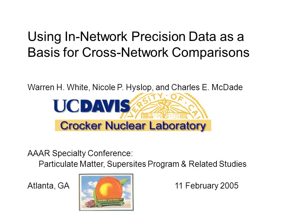 Using In-Network Precision Data as a Basis for Cross-Network Comparisons Warren H.