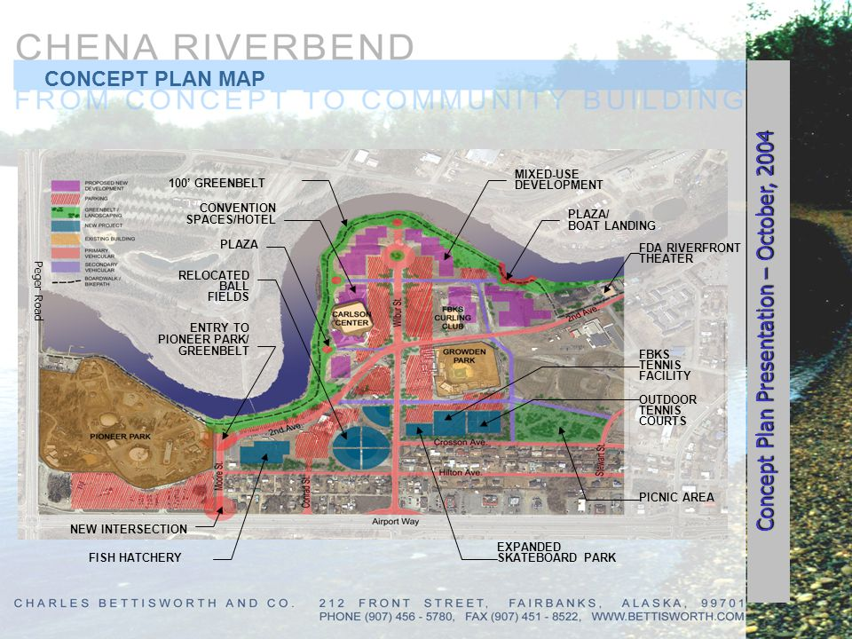 CONCEPT PLAN MAP 100 GREENBELT CONVENTION SPACES/HOTEL PLAZA RELOCATED BALL FIELDS FISH HATCHERY ENTRY TO PIONEER PARK/ GREENBELT NEW INTERSECTION MIX