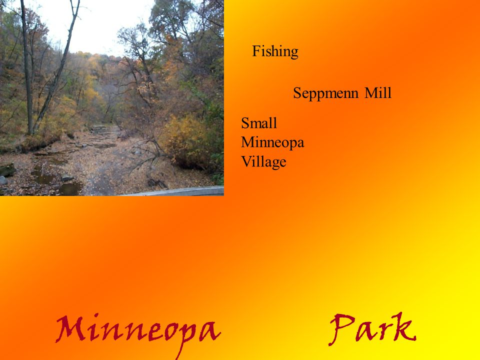 Minneopa Park Current Facilities: 3 picnic areas 2 large open shelters Visitors center 4.5-mile hiking trail 4-mile cross country ski trail 62 semi-moderate campsites