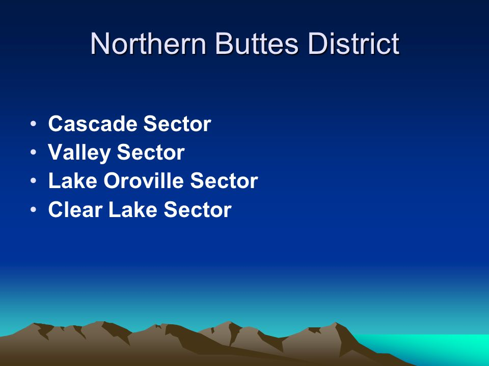 Northern Buttes District Cascade Sector Valley Sector Lake Oroville Sector Clear Lake Sector