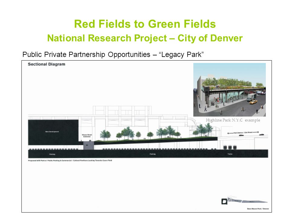 Red Fields to Green Fields National Research Project – City of Denver Public Private Partnership Opportunities – Legacy Park Highline Park N.Y.C example