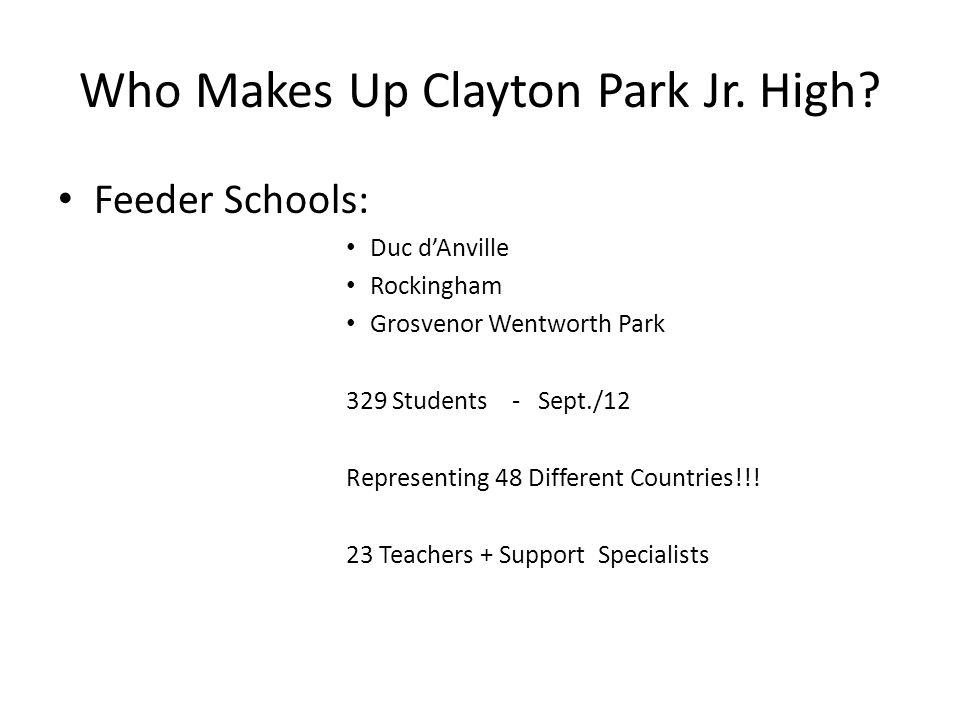 Who Makes Up Clayton Park Jr. High? Feeder Schools: Duc dAnville Rockingham Grosvenor Wentworth Park 329 Students -Sept./12 Representing 48 Different