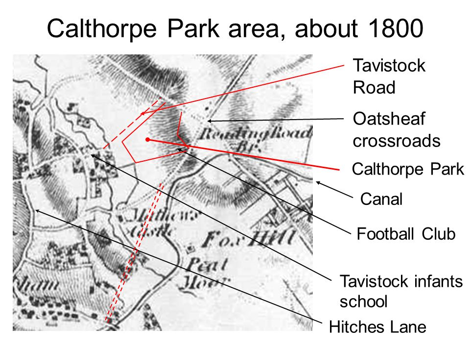 Calthorpe Park area, about 1800 Oatsheaf crossroads Tavistock infants school Football Club Hitches Lane Calthorpe Park Tavistock Road Canal