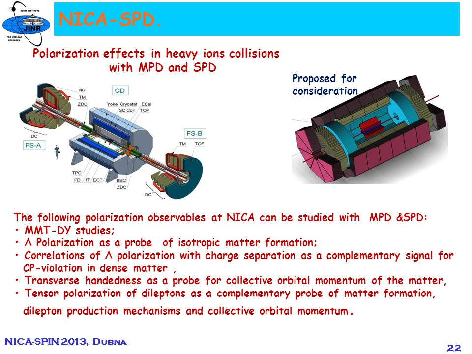 22 Polarization effects in heavy ions collisions with MPD and SPD The following polarization observables at NICA can be studied with MPD &SPD: MMT-DY studies; Λ Polarization as a probe of isotropic matter formation; Correlations of Λ polarization with charge separation as a complementary signal for CP-violation in dense matter, Transverse handedness as a probe for collective orbital momentum of the matter, Tensor polarization of dileptons as a complementary probe of matter formation, dilepton production mechanisms and collective orbital momentum.