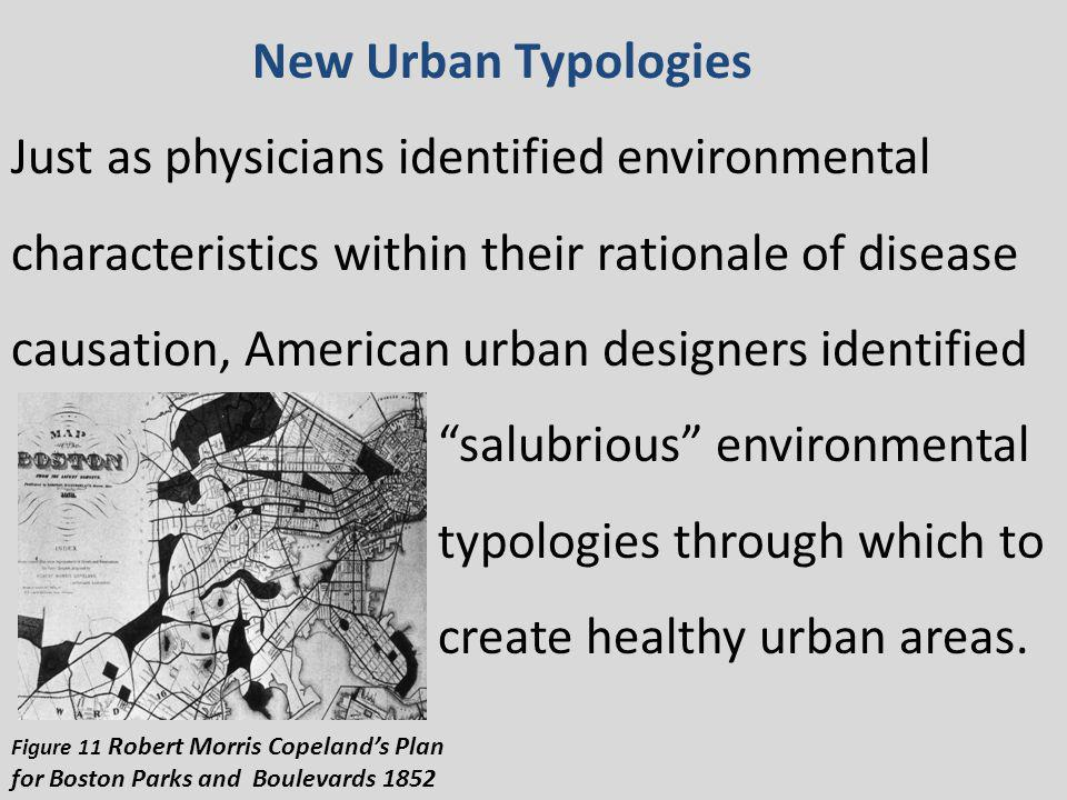 New Urban Typologies Just as physicians identified environmental characteristics within their rationale of disease causation, American urban designers identified salubrious environmental typologies through which to create healthy urban areas.
