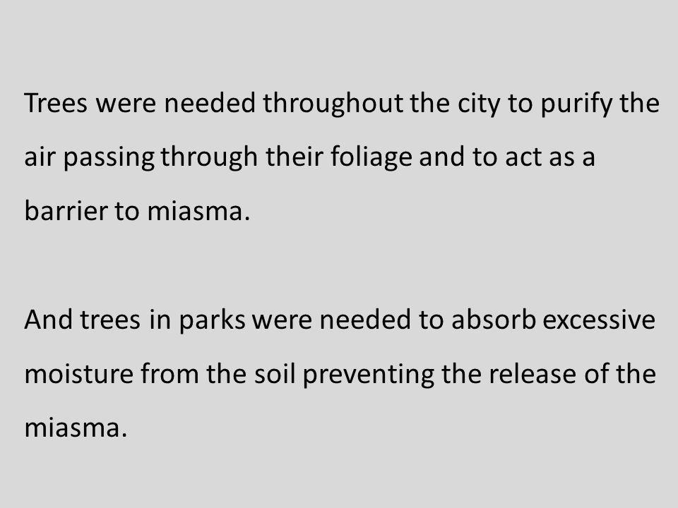 Trees were needed throughout the city to purify the air passing through their foliage and to act as a barrier to miasma.