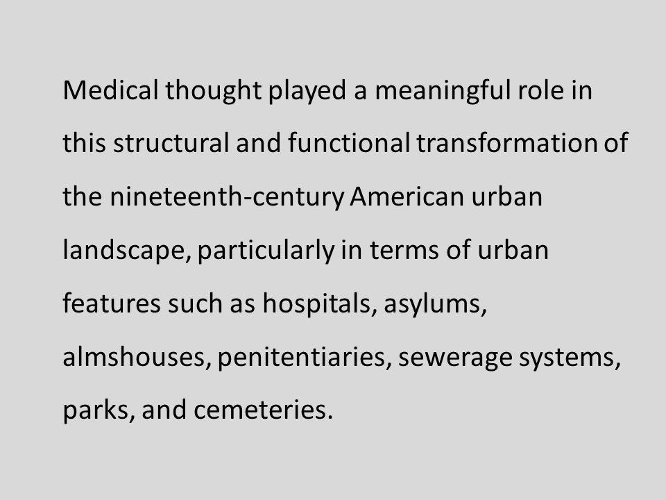 This second of two courses illustrates the influence of medial thought on the design of 19 th -century American urban landscape through an examination of American physician Daniel Drake, and American landscape architect Frederick Law Olmsteds writings and work.