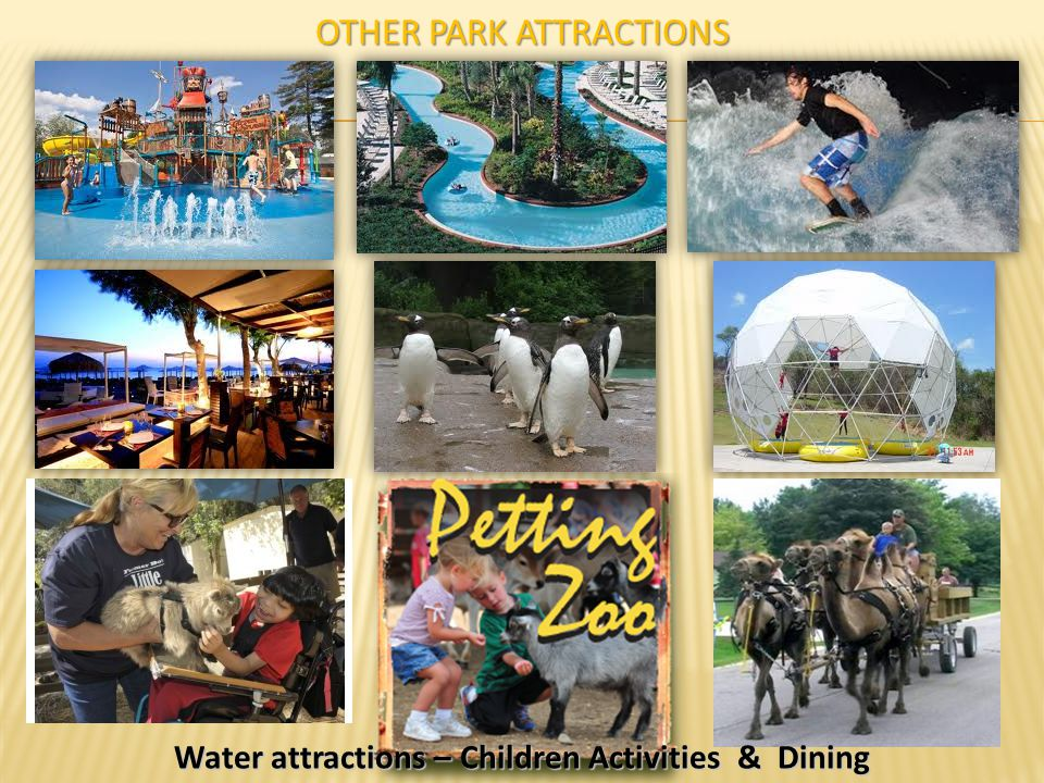 OTHER PARK ATTRACTIONS Water attractions – Children Activities & Dining