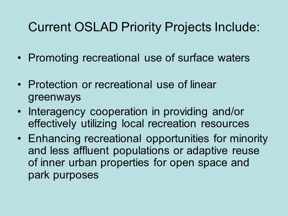 Eligible Development Projects May Include: Bike path Construction or Renovation, Including: Clearing, Grading, Drainage, and Surfacing Bridging Fencing Regulatory/Informational Signs Restroom Buildings, Drinking Fountains, Parking Areas