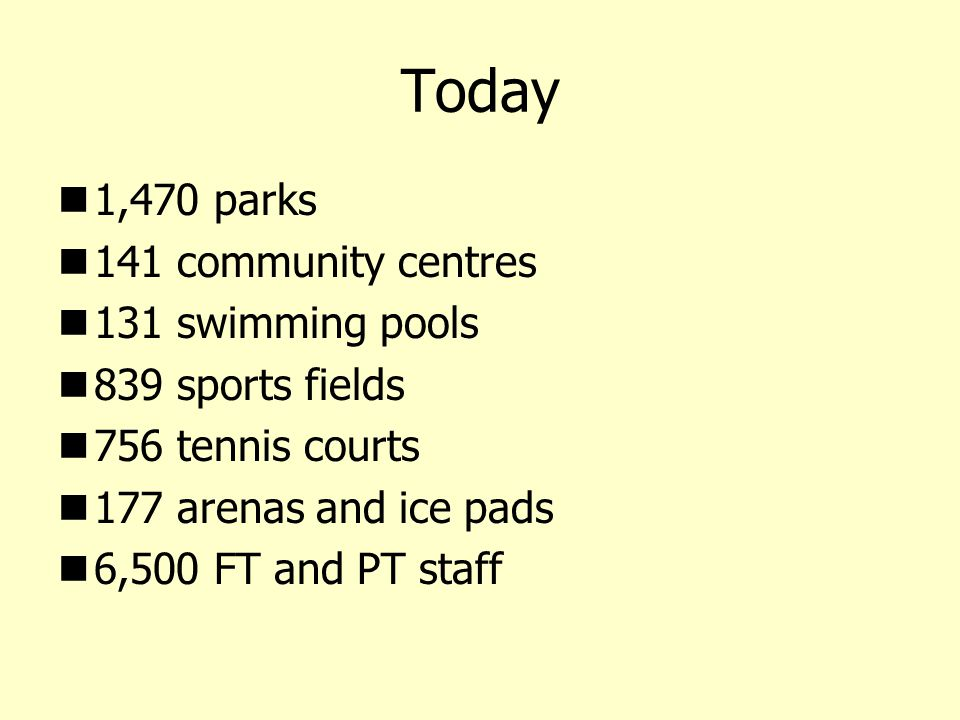 Today 1,470 parks 141 community centres 131 swimming pools 839 sports fields 756 tennis courts 177 arenas and ice pads 6,500 FT and PT staff