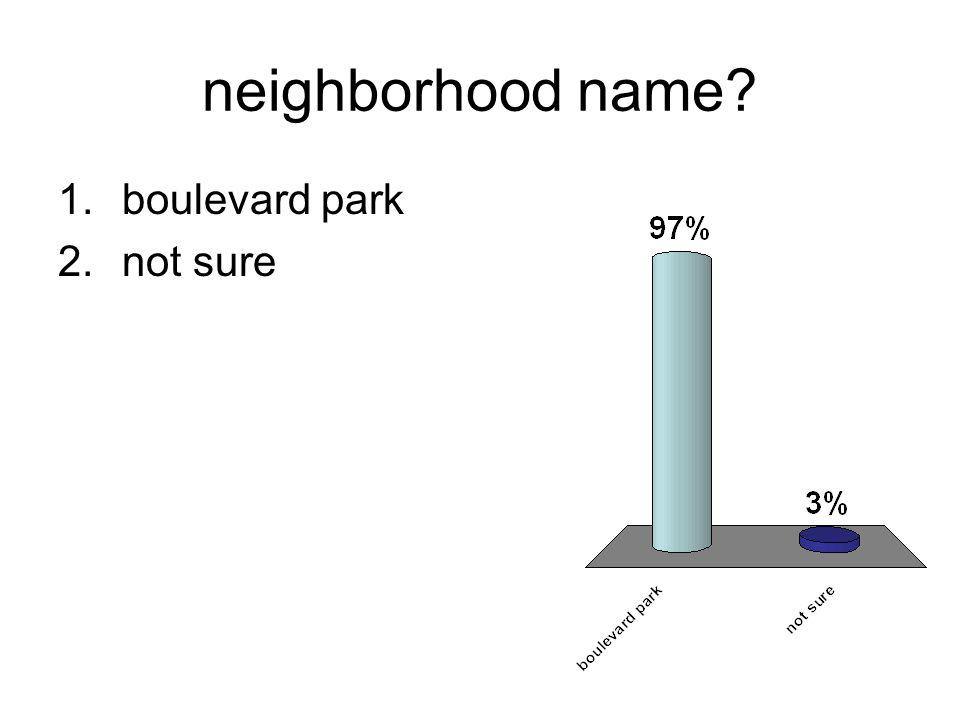 neighborhood name 1.boulevard park 2.not sure